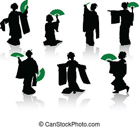 Silhouettes of dancers of Japanese