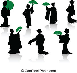 Silhouettes of dancers of Japanese theatre Kabuki and silhouettes of geishas