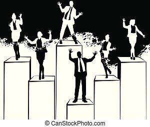 Silhouettes of dancing business people