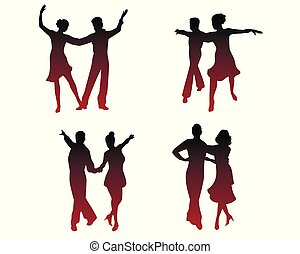 Silhouettes of dancing couples