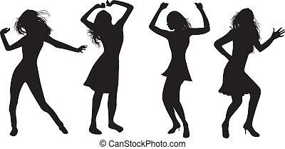 dancing girls - silhouettes of dancing girls