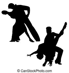 Latin couple - Silhouettes of dancing Latin couples