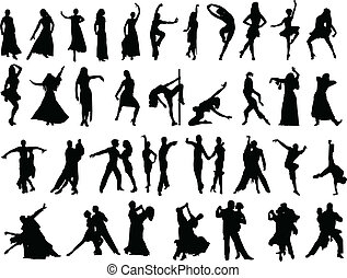 dancing people - silhouettes of dancing people