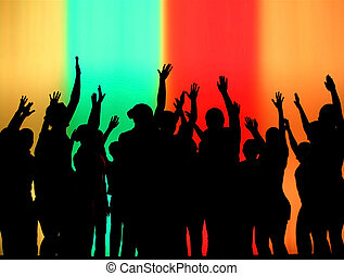 Silhouettes of Dancing People at a club in a backlit scene.