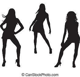 Silhouettes of dancing women
