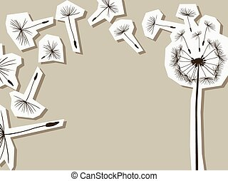 silhouettes of dandelion in the wind