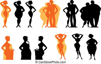Silhouettes of dieting people - Silhouettes of people...