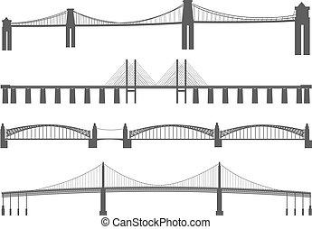 Silhouettes of different bridges.