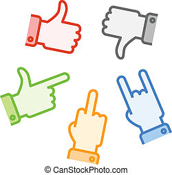 Silhouettes of different color hand gestures isolated on white background