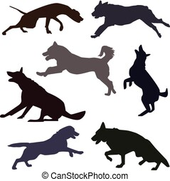 Silhouettes of different dog breeds.