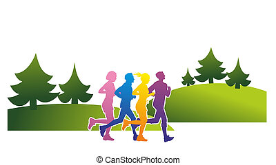 runner - silhouettes of different runners in the woods