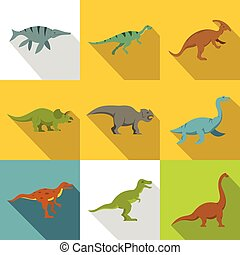 Silhouettes of dinosaurs icon set, flat style - Silhouettes...