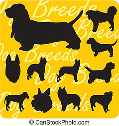 Silhouettes of Dogs - vector set.