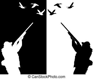 silhouettes of ducks hunter on a white background and black