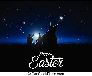 Silhouettes of easter bunnies against a moonlight and stars. Concept easter vector illustration