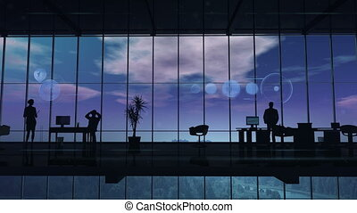 Silhouettes of employees in the office and elements of infographic