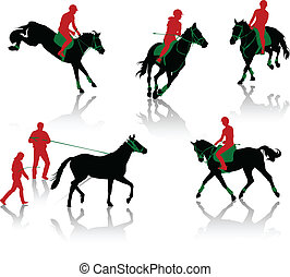 Silhouettes of equestrians on horse