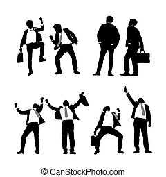 Silhouettes of excited business men