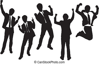 Silhouettes of excited happy Businessmen with white...