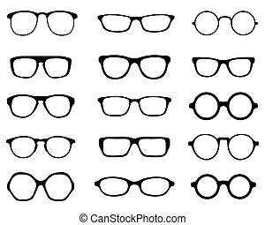 Black silhouettes of fifteen different eyeglasses, vector
