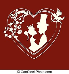 Silhouettes of fairy-tale Prince and Princess