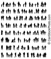 Silhouettes of families at walking
