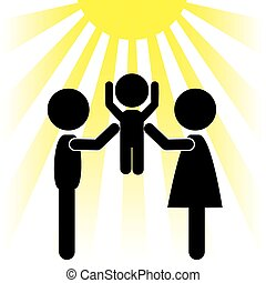 silhouettes of family and the sun