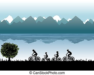Silhouettes of family on bicycles.