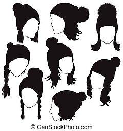 female heads in winter hats