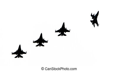 Silhouettes of fighter jets