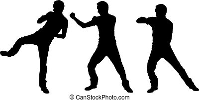 Silhouettes of fighting men