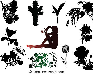 Silhouettes of flowers, and sexy woman.