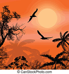 silhouettes of flying birds and trees