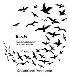 Silhouettes of flying birds - Silhouettes of black flying...