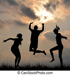 Silhouettes of friends jumping outdoor set 2