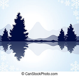 vector silhouettes of fur-trees with reflection in frozen water and mountains