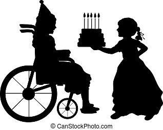 Silhouettes of girls celebrating the birthday of girl in wheelchair.