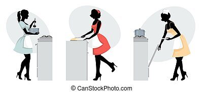 Silhouettes of girls cooking