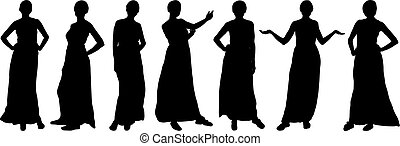 Silhouettes of girls fashion models, different poses. Vector.