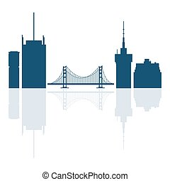 Silhouettes of Golden Gate, suspension bridge and modern buildings in the USA.