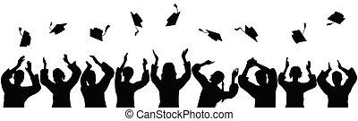 Silhouettes of graduates throwing square academic caps. Vector illustration.
