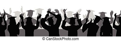 Silhouettes of graduates with square academic caps, seamless pattern. Vector illustration.