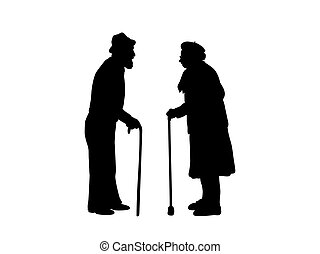 Silhouettes of grandparents are standing against each other.