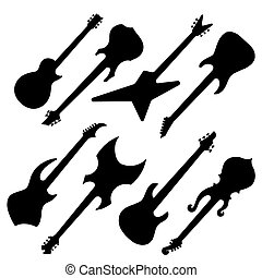 Silhouettes of guitars - Black silhouettes of electric...