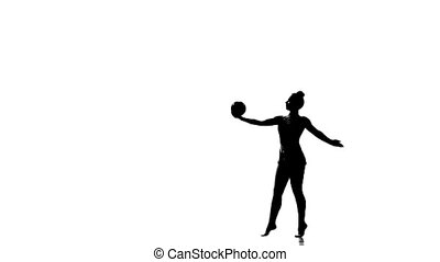 Silhouettes of gymnast with various sports subjects.