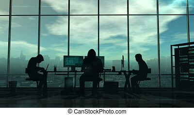Silhouettes of hackers at work - Dark silhouettes of hackers...