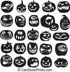 silhouettes of Halloween pumpkin