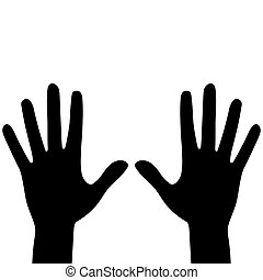 Silhouettes of hands isolated on a white background. Vector flat illustration.