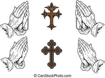 pray - silhouettes of hands praying with a rosary and a...