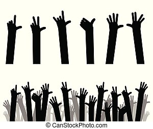 Silhouettes of hands up - Vector illustration of silhouettes...